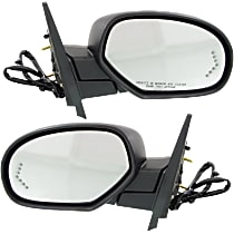 Kool Vue Power Mirror, Driver and Passenger Side, Power Folding, Non-Towing, HTD, w/ Memory, Signal In Glass, & Puddle Light, 4 Caps Paintable & Txtd Blk