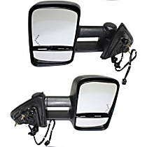 Power Mirror, Driver and Passenger Side, Manual Folding, Towing, Heated, w/ Signal In Glass, Textured Black