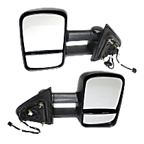 Mirror - Driver and Passenger Side (Pair), Towing, Power, Heated, Folding, Textured Black, Trailer Tow Type