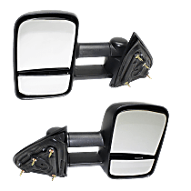 Mirror - Driver and Passenger Side (Pair), Towing, Textured Black, With Blind Spot Glass, Trailer Tow Type