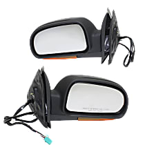 Mirror - Driver and Passenger Side (Pair), Power, Heated, Folding, Textured Black, With Turn Signal (Clear)