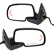 Mirror - Driver and Passenger Side Pair, Power, Heated, Folding, w/ Paintable & Textured Black Caps, Turn Signal & Puddle Lamp
