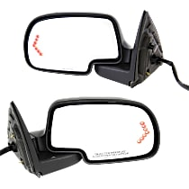 Mirror - Driver and Passenger Side Pair, Power, Heated, Folding, w/ Paintable & Textured Black Caps, With Turn Signal & Puddle Lamp