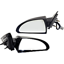 Power Mirror, Driver and Passenger Side, Non-Folding, Non-Heated, Paintable, w/ Smooth Black Base