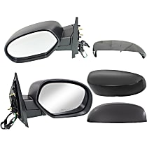 Kool Vue Power Mirror, Driver and Passenger Side, Manual Folding, Non-Towing, Heated, w/o Memory, Signal, Puddle Light, 4 Caps Paintable & Textured Black