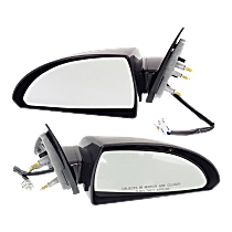 Power Mirror, Driver and Passenger Side, Non-Folding, Heated, Paintable, w/ Smooth Black Base