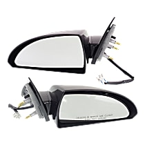 Kool Vue Power Mirror, Driver and Passenger Side, Non-Folding, Heated, Paintable, w/ Smooth Black Base