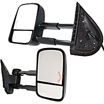 Kool Vue Power Mirror, Driver and Passenger Side, Manual Folding, Towing-Telescopic w/ Dual Glass, HTD, w/o Memory, w/ Signal In Glass, Textured Black