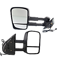 Power Mirror, Driver and Passenger Side, Manual Folding, Towing-Telescopic w/ Dual Glass, Heated, w/o Memory & Signal, Textured Black