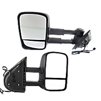 Kool Vue Power Mirror, Driver and Passenger Side, Manual Folding, Towing-Telescopic w/ Dual Glass, Heated, w/o Memory & Signal, Textured Black