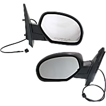 Kool Vue Power Mirror, Driver and Passenger Side, Manual Folding, Non-Towing, Heated, w/o Memory, Signal, Puddle Light, Textured Black