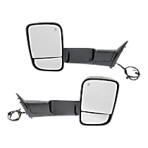 Mirror - Driver and Passenger Side (Pair), Power, Heated, Power Folding, Chrome, Turn Signal, Puddle Lamp, w/ Temperature Sensor