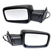 Kool Vue Power Mirror, Driver and Passenger Side, Power Folding, Non-Towing, Heated, w/o Memory, w/ Signal and Puddle Light, Textured Black