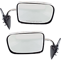 Mirror - Driver and Passenger Side (Pair), Folding, Chrome, 6 x 9 in. Housing; Black Base