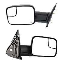 Power Mirror, Driver and Passenger Side, Man-Fold, Towing, w/ Corner Blind Spot Glass, HTD, w/o Signal & Puddle Light, Textured Black