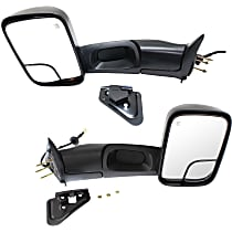 Kool Vue Power Mirror, Driver and Passenger Side, Old Body Style, Manual Folding, Towing w/ Corner Blind Spot Glass, Heated, Textured Black