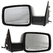 Mirror - Driver and Passenger Side (Pair), Power, Heated, Folding, Chrome, With Turn Signal, Memory and Puddle Lamp, Black Base