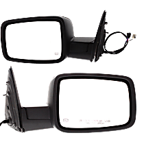 Power Mirror, Driver and Passenger Side, Manual Folding, Heated, w/o Memory, w/ Signal & Puddle Light, w/o Auto Dim, Textured Black