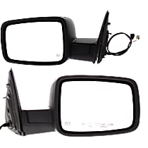 Kool Vue Power Mirror, Driver and Passenger Side, Manual Folding, Heated, w/o Memory, w/ Signal & Puddle Light, w/o Auto Dim, Textured Black