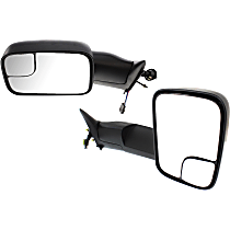 Mirror - Driver and Passenger Side (Pair), Towing, Power, Textured Black, Old Body Style