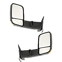 Mirror - Driver and Passenger Side (Pair), Towing, Power, Heated, Folding, Textured Black, With Turn Signal and Puddle Lamp