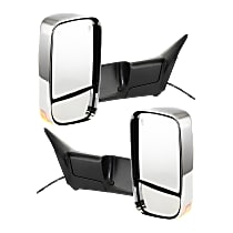 Kool Vue Power Mirror, Driver and Passenger Side, Manual Folding, Towing w/ Dual Glass, Heated, w/ Memory, Signal & Puddle Light, Chrome