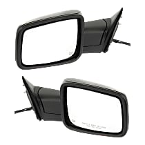 Kool Vue Power Mirror, Driver and Passenger Side, Manual Folding, Non-Towing, Heated, w/o Memory, w/ Signal and Puddle Light, Textured Black