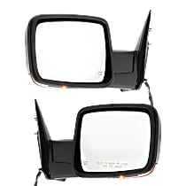 Kool Vue Power Mirror, Driver and Passenger Side, Manual Folding, Non-Towing, Heated, w/ Memory, Signal, and Puddle Light, Chrome
