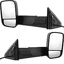 Mirror - Driver and Passenger Side, Pair, Towing, Power, Heated, Black, w/ Turn Signal, Puddle Lamp, Temp Sensor, Towing Package