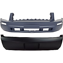 Replacement Bumper Cover - SET-F010301P-2 - Front and Rear, Primed, Base Model, Without Parking Aid Sensor Holes, Without Fog Light Holes