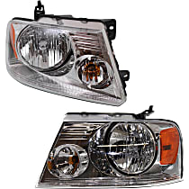 Driver and Passenger Side Headlight, With bulb(s) - Chrome Bezel
