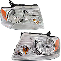 Driver and Passenger Side Headlight, With bulb(s) - Chrome Bezel, CAPA CERTIFIED