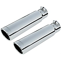 Exhaust Tip - Polished, Stainless Steel, Single, Universal, Set of 2