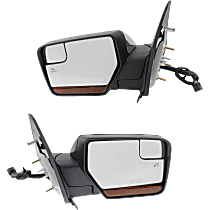 Power Mirror, Driver and Passenger Side, Power Folding, w/ Corner Blind Spot Glass, HTD, w/ Memory, Signal, and Puddle Light, Paintable