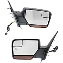 Kool Vue Power Mirror, Driver and Passenger Side, Power Folding, w/ Corner Blind Spot Glass, Heated, w/ Memory, Signal, and Puddle Light, Chrome