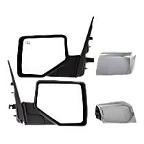 Mirror - Driver and Passenger Side (Pair), Power, Heated, Folding, With Chrome and Textured Black Caps, w/ Puddle Lamp