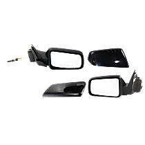 Kool Vue Manual Remote Mirror, Driver and Passenger Side, Non-Folding, 4 Caps Paintable & Textured Black