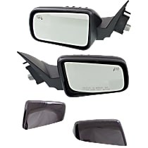 Kool Vue Power Mirror, Driver and Passenger Side, Non-Folding, Heated, 4 Caps Paintable & Textured Black