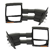 Mirror - Driver and Passenger Side (Pair), Towing, Power, Heated, Folding, Black, With Turn Signal, Memory & Puddle Lamp, Telescopic