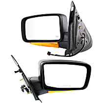 Mirror - Driver and Passenger Side (Pair), Power, Heated, Textured Black, With Turn Signal and Puddle Lamp