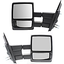 Mirror - Driver and Passenger Side (Pair), Towing, Folding, Textured Black, Telescopic Dual Glass