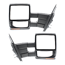 Mirror - Driver and Passenger Side (Pair), Towing, Power, Heated, Folding, Textured Black, With Turn Signal & Puddle Lamp, Telescopic