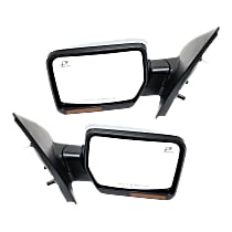 Kool Vue Power Mirror, Driver and Passenger Side, Power Folding, Non-Towing, Heated, w/ Memory, Signal, & Puddle Light, Chrome