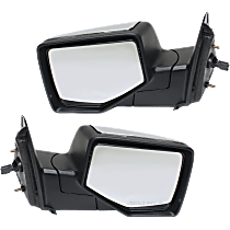 Mirror - Driver and Passenger Side (Pair), Power, Chrome, For Regular or Extended Cab