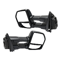 Mirror - Driver and Passenger Side Pair, Towing, Power, Heated, Power Fold, Textured Black, Turn Signal, Memory, Blind Spot Function