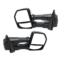 Driver and Passenger Side Towing Heated Mirror - Power Glass, Power Folding, In-housing Signal Light, With Memory, Chrome