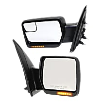Kool Vue Power Mirror, Driver and Passenger Side, Manual Folding, Non-Towing, Heated, w/o Memory & Puddle Light, w/ Signal, Textured Black