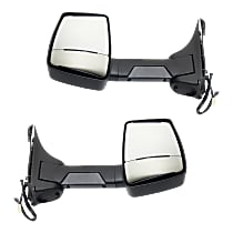 Mirror - Driver and Passenger Side (Pair), Towing, Power, Heated, Folding, Textured Black, Single Arm