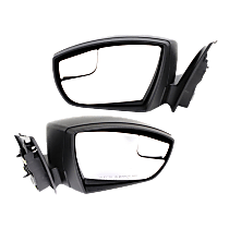Mirror - Driver and Passenger Side (Pair), Power, Textured Black, With Blind Spot Glass, For Sedan