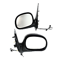 Mirror - Driver and Passenger Side (Pair), Power, Heated, Chrome, Black Base